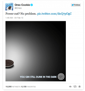 Oreo inhaker op twitter - Super Bowl 2013