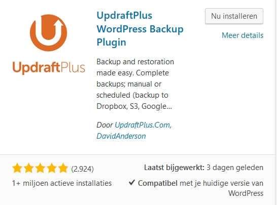 Back up plugin UpdraftPlus
