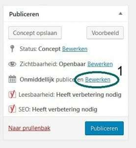 Blog inplannen WordPress - stap 1