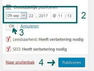 Blog inplannen WordPress - stap 2