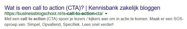 Call to action in meta-beschrijving