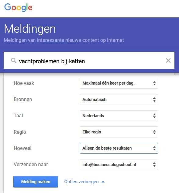 Google Alerts instellen stappenplan