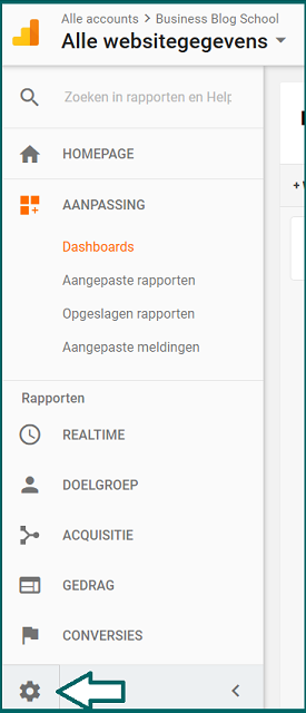 Google Analytics dashboard: filter instellen
