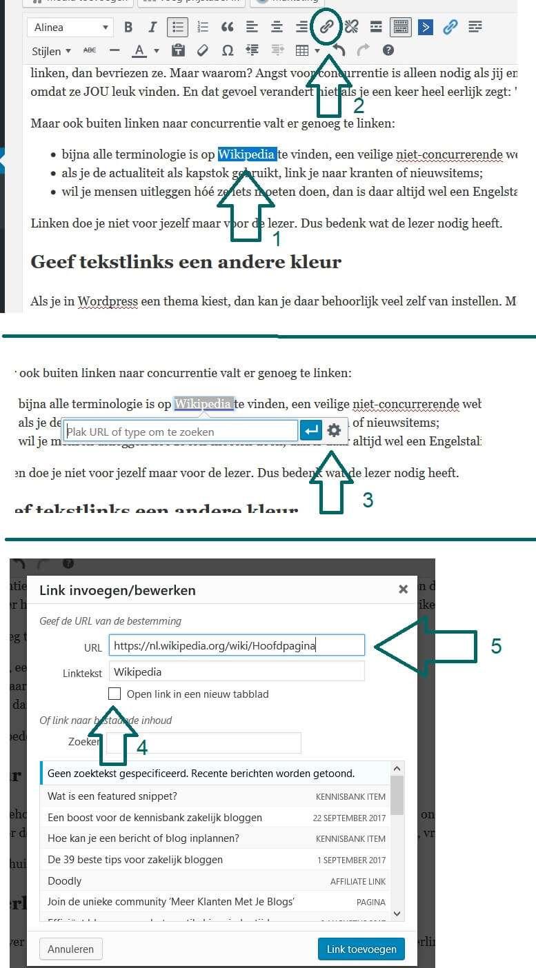 tekstlink maken in WordPress