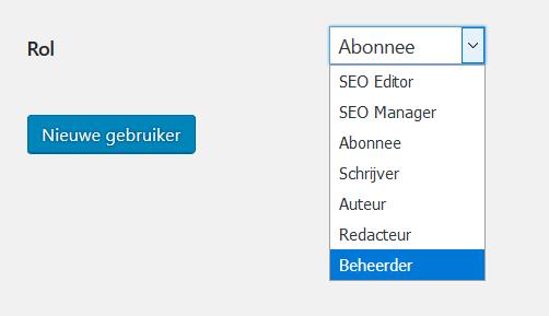 Wordpress gebruiker beheerder