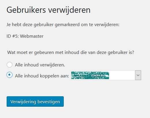Wordpress gebruiker verwijderen
